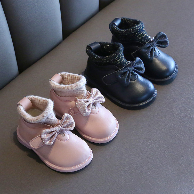 2019 Autumn And Winter  Female Baby Princess Shoes Soft Bottom 1-2 Years Old Baby Toddler Shoes Children Plus Velvet Bow Boots