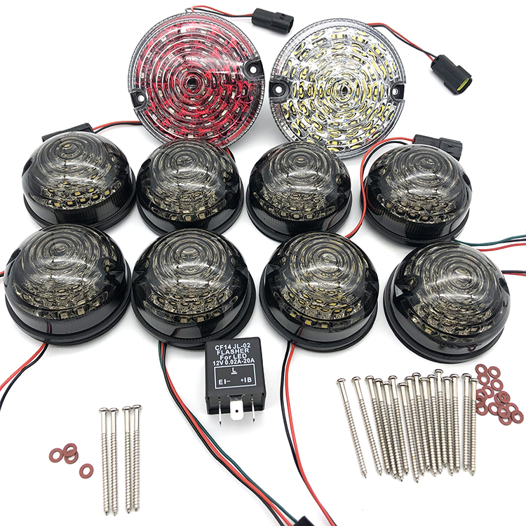 10pcs Smoked Rear Fog Lamp Reversing Light Complete LED Lamp Upgrade Kit For Land Rover Defender 1990-2016