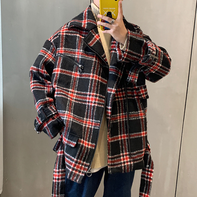 2019 Autumn And Winter New Men's Red And Black Plaid College Style Jacket Fashion Casual Classic Loose Woolen Coat M-3XL
