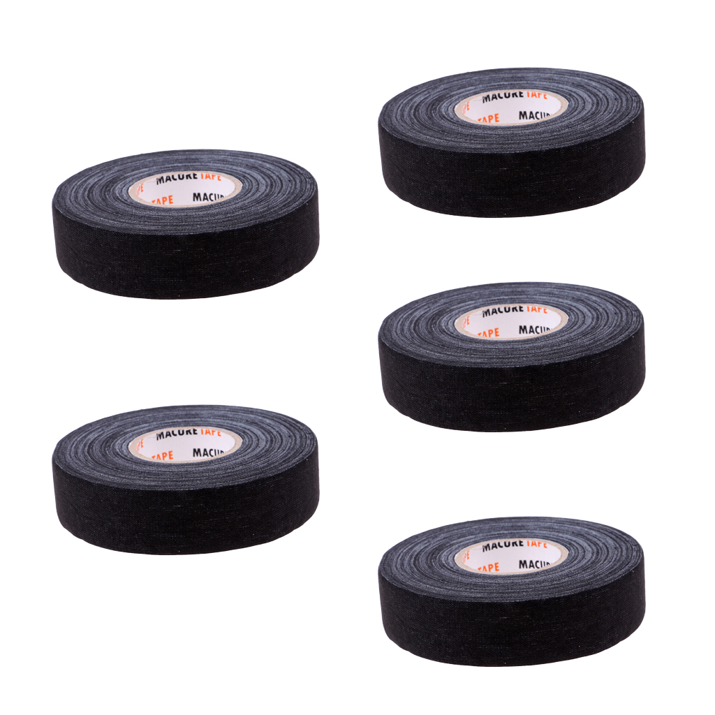 5 Roll Multi-purpose Durable Cloth Hockey Stick Tape 1' X 25 Yards Black
