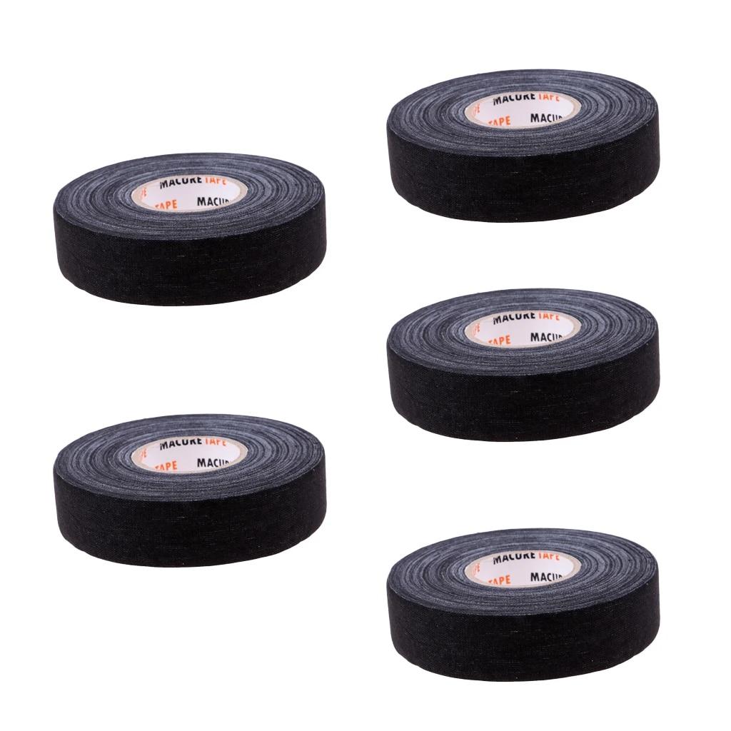 "5 Roll Multi-purpose Durable Cloth Hockey Stick Tape 1/"" x 25 Yards White"