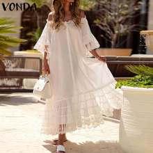 цены на White Dress Women Sexy Lace Off Shoulder Party Maxi Long Dress 2019 VONDA Flare Sleeve Vestido Plus Size Beach Summer Sundress в интернет-магазинах