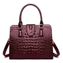 ICEV new simple fashion crocodile pattern women's leather handbags famous brand