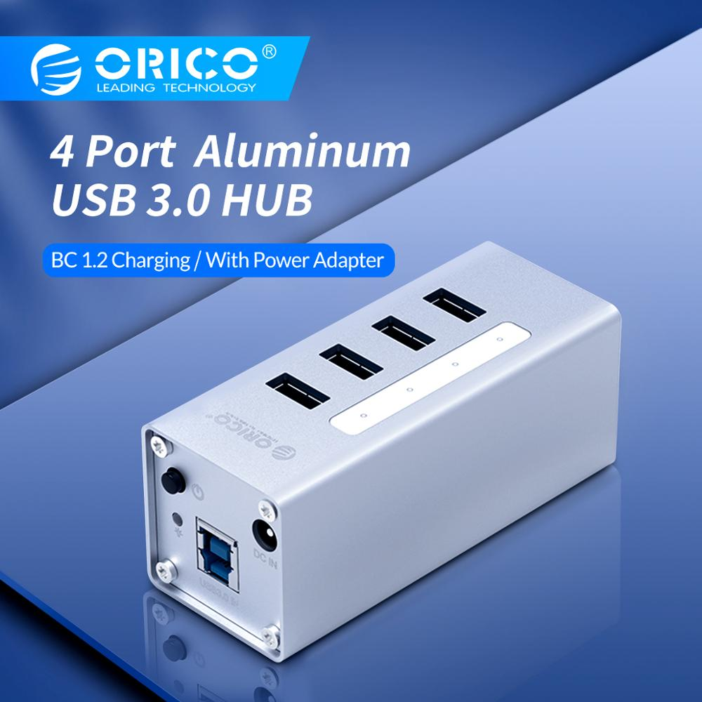 ORICO 4 Port Aluminum High Speed Multifunction USB 3.0 HUB With  Power Adapter And Data Cable Usb Switch  - Silver(A3H4)