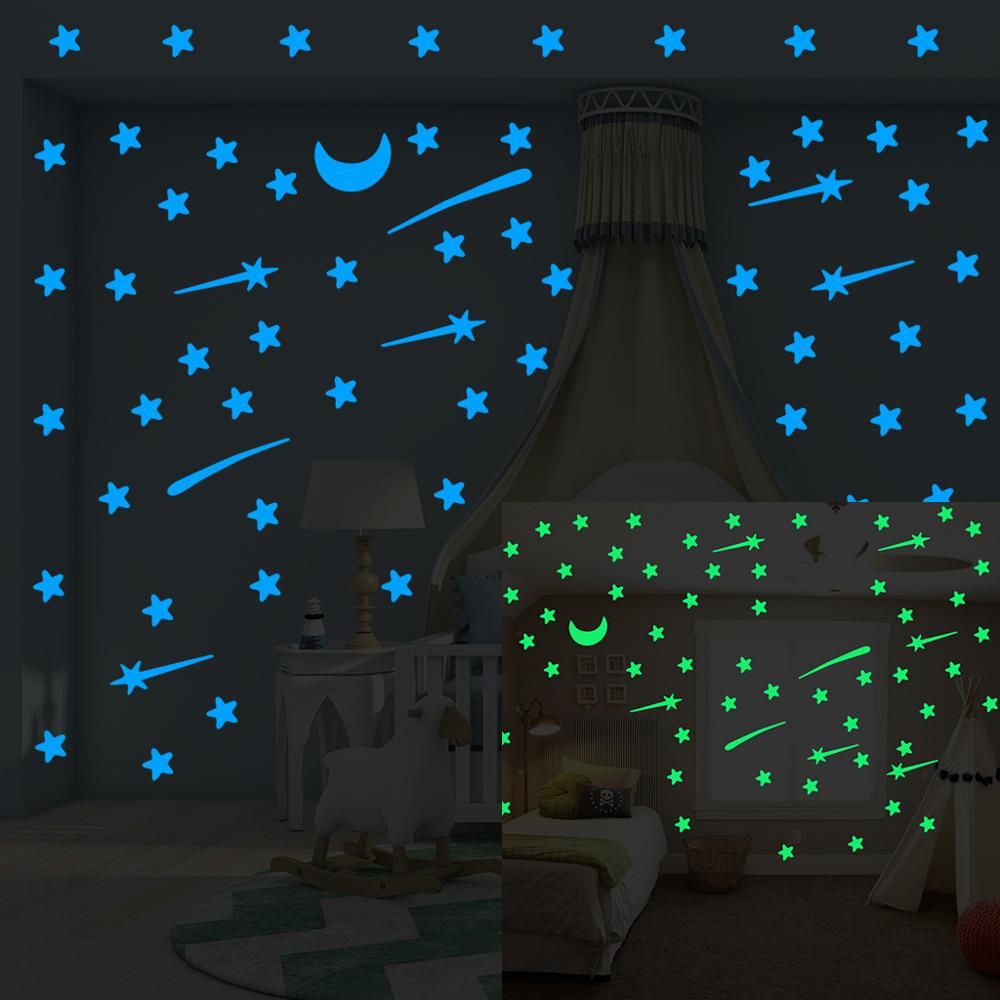 103 pcs Luminous stars meteor moon Wall Sticker for kids room living room bedroom decoration decals Glow in the dark 3D Stickers(China)