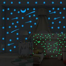 103 pcs Luminous stars meteor moon Wall Sticker for kids room living room bedroom decoration decals Glow in the dark 3D Stickers