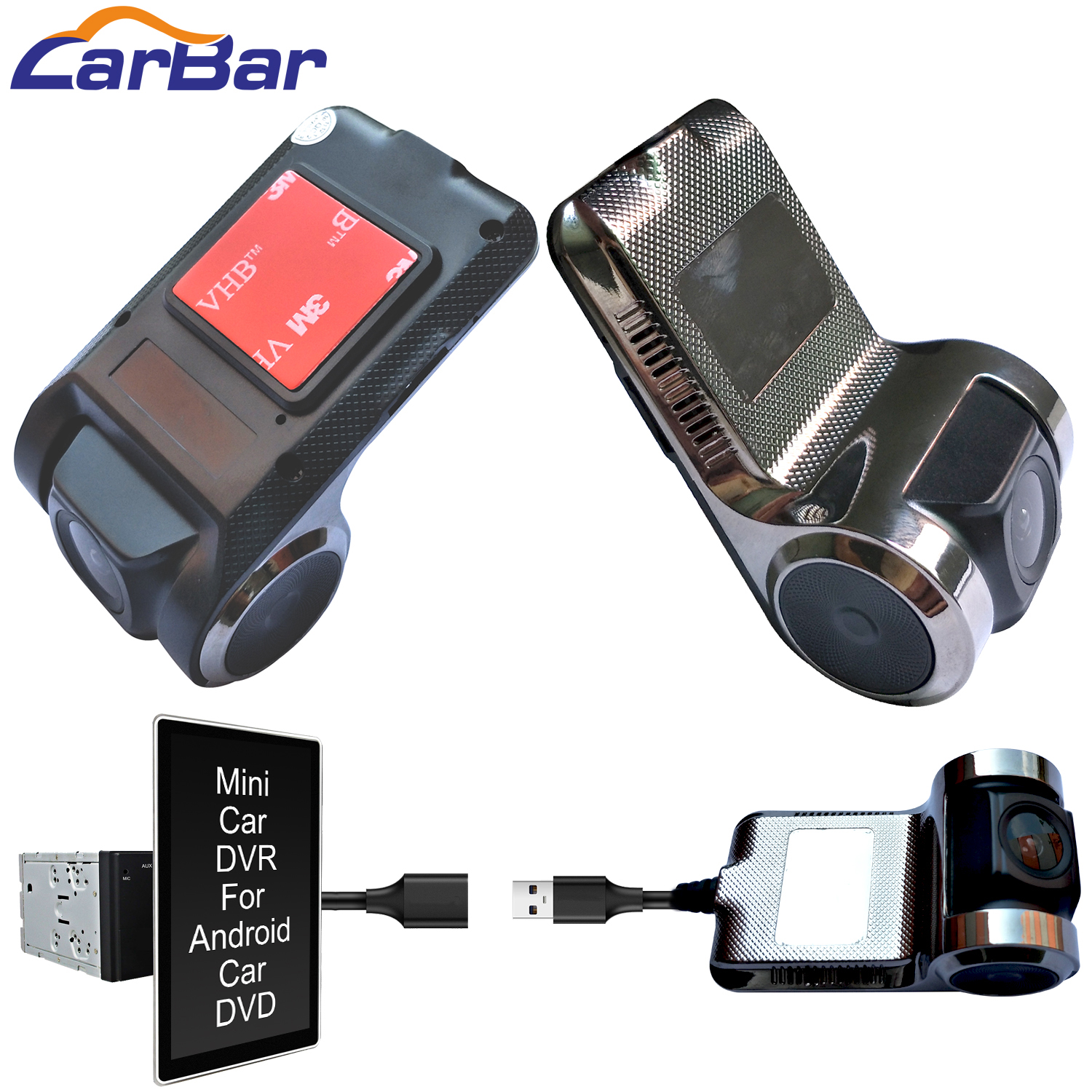 Carbar <font><b>USB</b></font> Car <font><b>DVR</b></font> DVRS for Android Car DVD Video Recorder Camera Dash <font><b>Cam</b></font> Black Box 30fps ADAS Easy Connect image