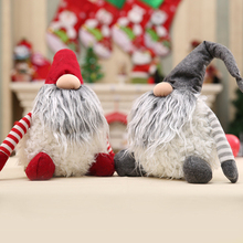 1Pc Handmade Plush Doll Christmas Decorations For Home 30*30cm Red Gray Kids Toy New Year Party Decor Gift