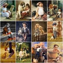 HUACAN 5D diament malarstwo mały chłopiec i pies pełne placu musztry Rhinestone diament haft Kid Cross Stitch mozaika wystrój domu