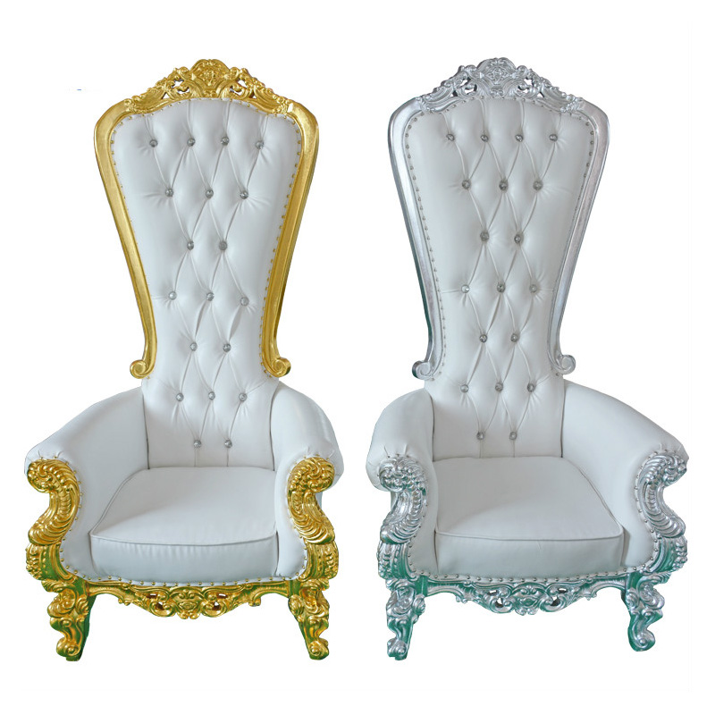 European Style High Back King Throne Silver Trim Wedding Chairs