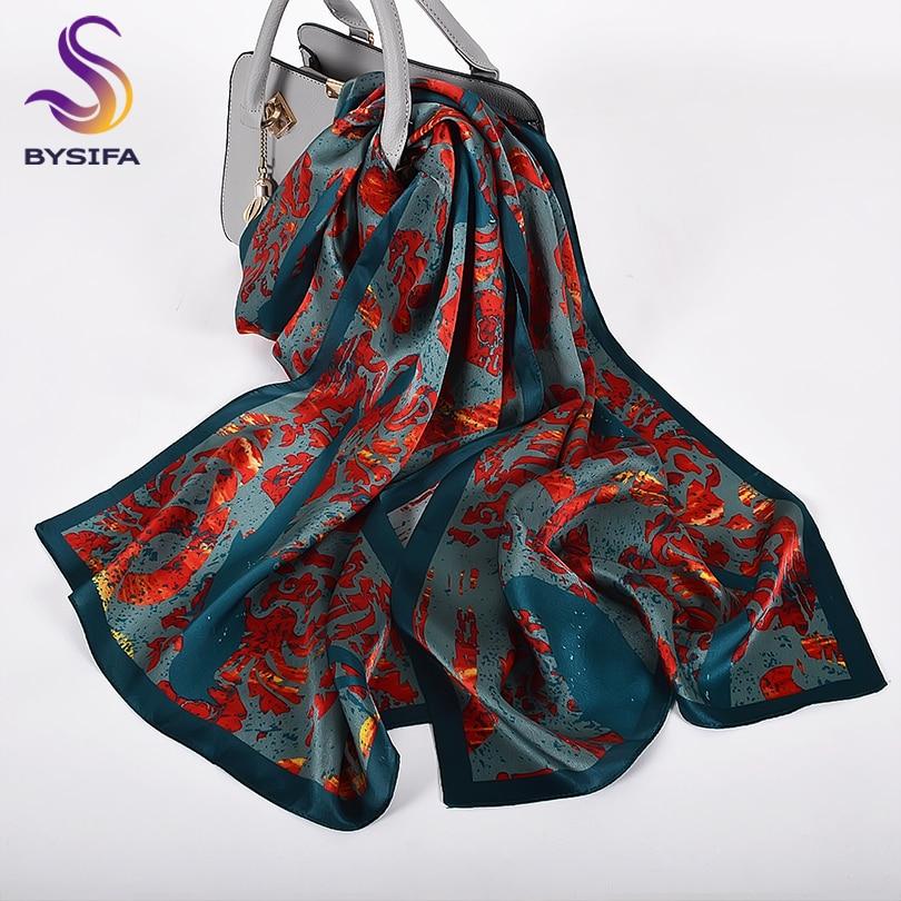 [BYSIFA] New Brand Red Blue Women Silk Long Scarves Shawls Spring Autumn Ladies100% Natural Silk Scarf Elegant Winter Scarf Cape