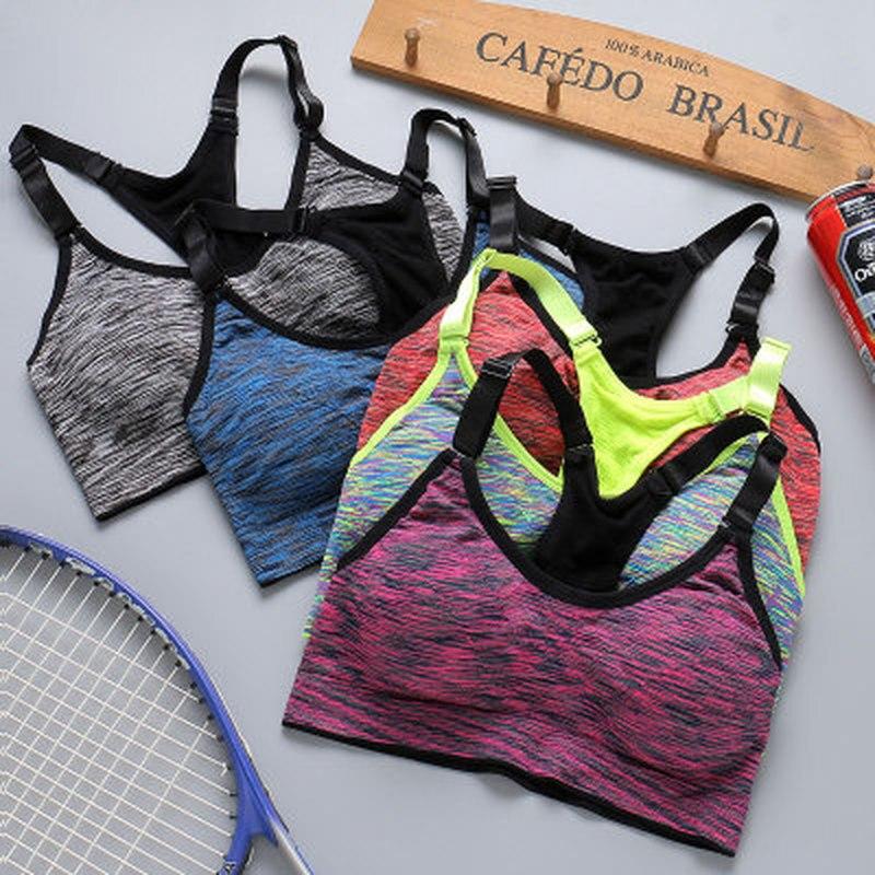 Quick Dry Sports Grey Bra Women Padded Wirefree Adjustable Shakeproof Fitness Underwear Push Up Seamless Yoga Running Tops