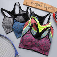 Quick Dry Sports Grey Bra Women Padded Wirefree Adjustable Shakeproof Fitness Underwear Push Up Seamless Yoga Running Tops