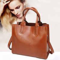 Bag women genuine leather big 2020 new brand black handbags women pommax bag female leather crossbody