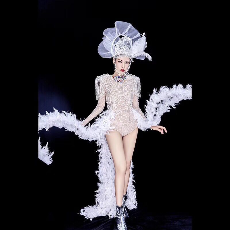 Big Rhinestones Pearls Fringes Bodysuit Tail Outfit Bar Birthday Celebrate Outfit Women Singer Dancer Show Outfit