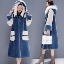 2020 New Winter Woolen Coat Women Thicken Fur collar Hooded lambswool Jackets Female Elegant Plus size Long Wool Outerwear AQ363(China)