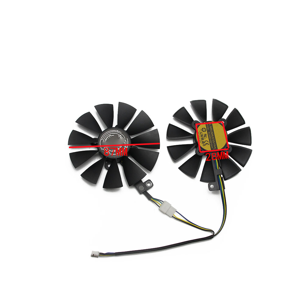 Image 3 - 87MM GTX1060 GTX1070 RX480 Cooler Fan For ASUS GTX 1060 1070 RX 480 Graphics Card  T129215SU PLD09210S12HH 28mm Cooling Fans-in Fans & Cooling from Computer & Office