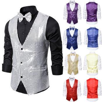 Fashion Men Shiny Sequin Glitter Coat Vest Men Formal Sequin Glitter Suit Vest Wedding Casual Nightclub Waistcoat Jacket