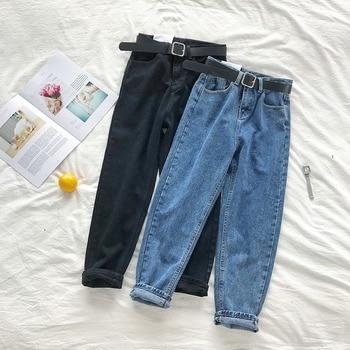 Korean High Waist Jeans Women Solid Harem Pants Loose Casual Plus Size High Street Denim Trousers Pantalon Femme With Belt 2021 2