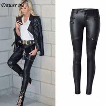 Dower Me Female Large Size Sexy Charming Black Lederhosen High Waist Imitation Leather Ladies Pants Skinny Pencil Slacks KZ003