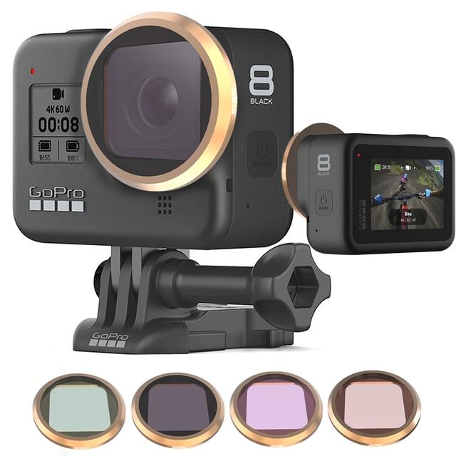 Gopro hero 8 용 다층 코팅 렌즈 필터 gopro 8 카메라 액세서리 용 mcuv/cpl/nd4 8 16/star/15x 매크로 필터