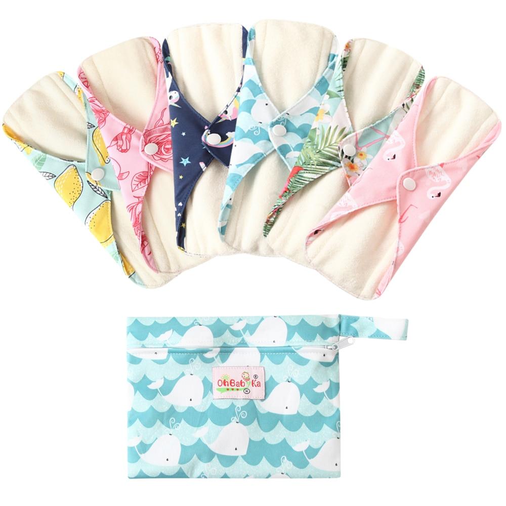 Soft Washable Bamboo Menstrual Pad Sets Ohbabyka Reusable Sanitary Napkins 6PCS Flow Pads & 1 FREE Waterproof Wetbag SIZE S M