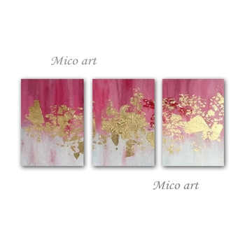 3 Pieces Abstract Canvas Oil Painting Modern 100% Handmade Gold Foil Canvas Wall Art Pictures For Living Room Home Decoration
