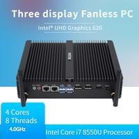 Fanless pc mini industrial Computer i7 8550U Fanless PC Server i5 8250U linux HDMI 2.0 DP 3 Years Warranty Desktop MINI computer