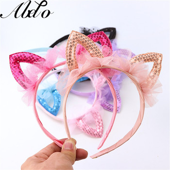 ABDO Baby Hair Accessories Lovely Solid Lace Mesh Sequins Cat Ears Hair Bands For Girls Headdress Party performance Headbands 186pcs luminous cat ears headwear plastic glow headbands easter hair accessories hairband halloween easter headdress headpieces