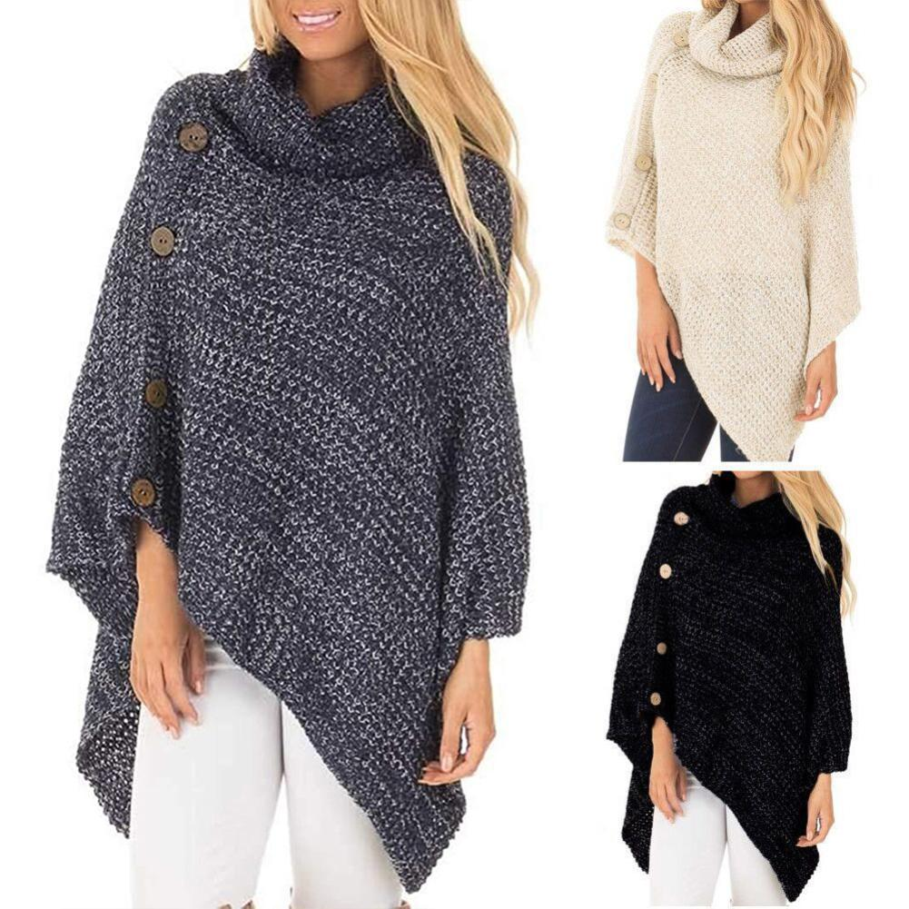Winter Autumn Solid Color Turtle Neck Irregular Hem Knit Poncho Pullover Sweater High Quality Material Comfortable To Wear Gifts