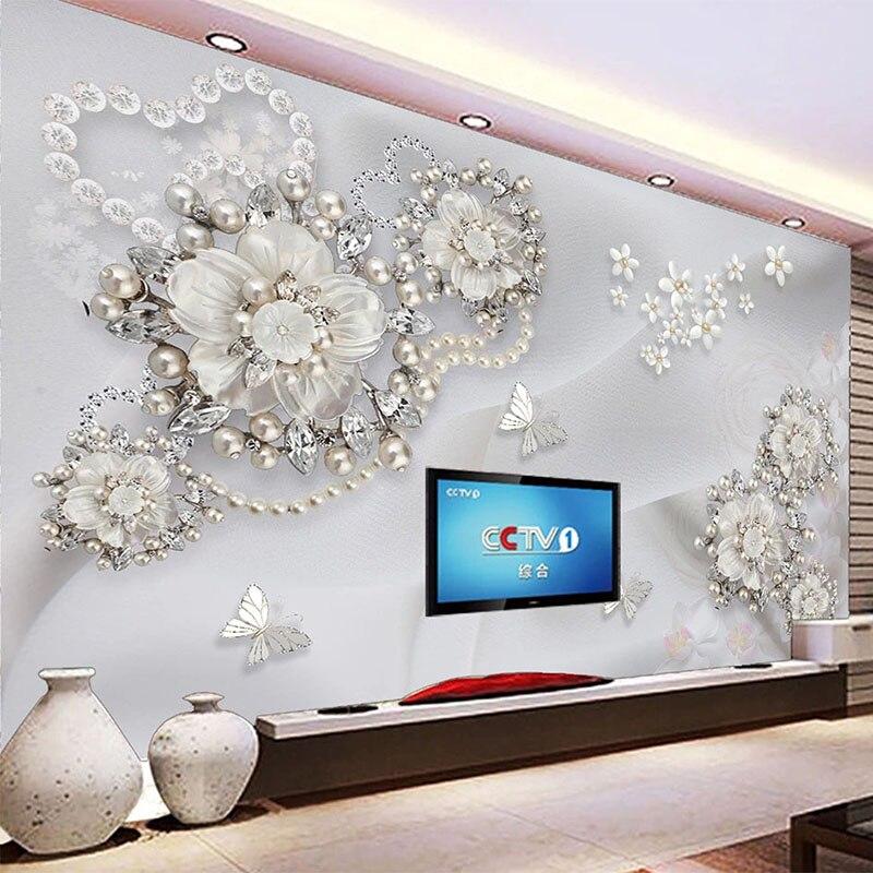 Пользовательские 3D Настенные обои в европейском стиле, Роскошные 3D рельефные жемчужные украшения, цветы, фотообои для гостиной, спальни, 3D