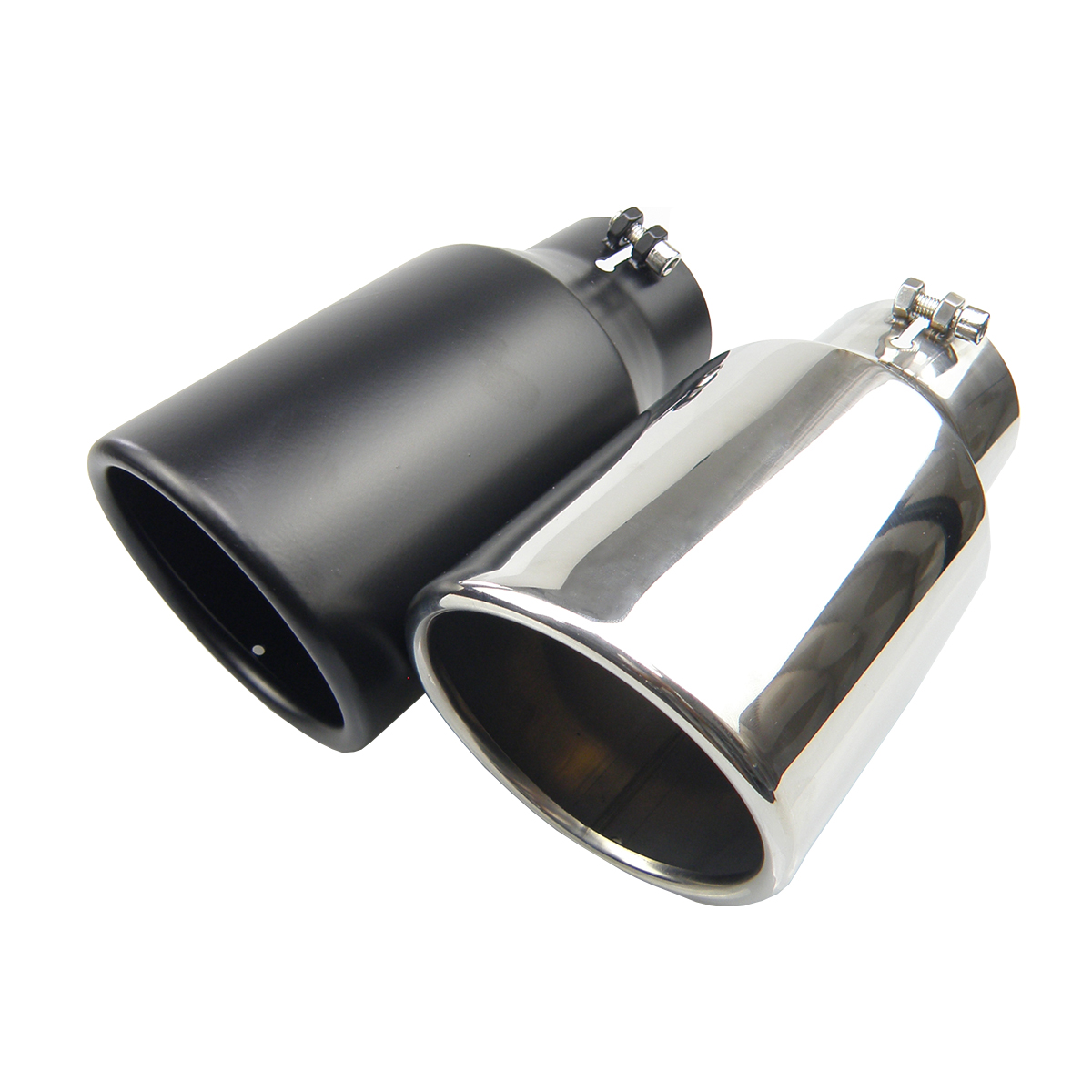 car bolt on stainless steel diesel 3 inlet 4 5 outlet exhaust muffler tip black or siliver color rolled end angle cut tail pipe