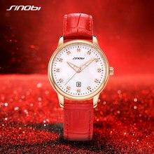 Sinobi Модные женские кожаные часы с красным календером кварцевые