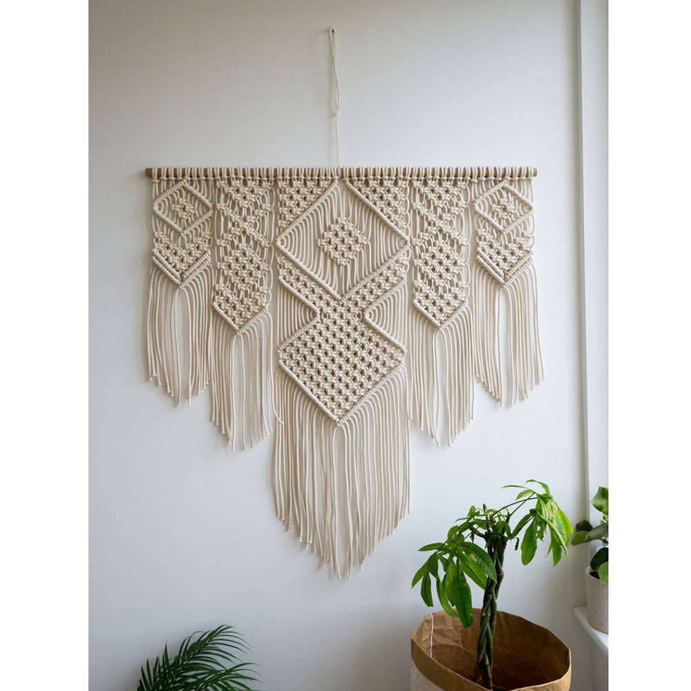 Bohemian wandtapijten boerderij home decor nordic macrame muur opknoping wandtapijten bloem van leven creative breien muur deken - 4