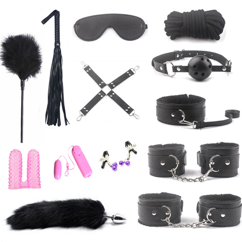 Erotic Adult Toys Leather Bondage Set Fox tail Metal Anal plug Sex Toys for Women Couples BDSM Sex Handcuffs sex whip