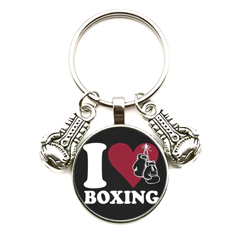 New Fashion Glass Cabochon Key Chain Boxing Gloves Pendant Boxing Lobster Clasp DIY Men And Women Car Keychain Gift