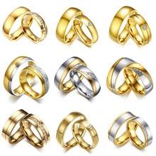 Vnox-anillo de compromiso de acero inoxidable para hombre y mujer, sortija de boda, Color dorado, regalo de aniversario, precio increíble