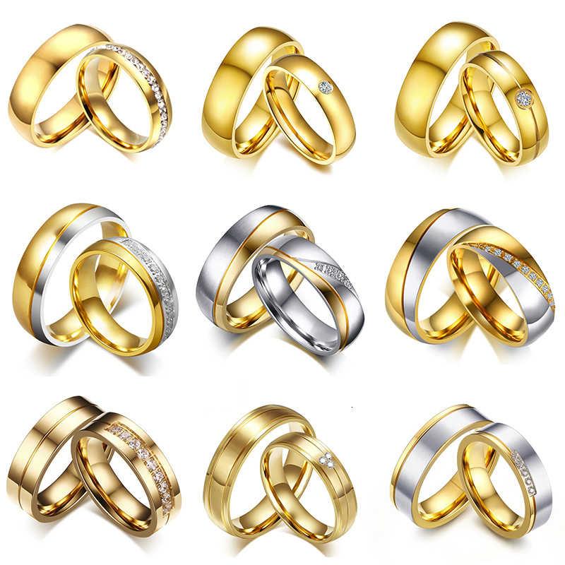 Vnox Màu Vàng Cưới Ban Nhạc Nhẫn Dành Cho Nữ Trang Sức Thép Không Gỉ Nhẫn Đính Hôn Cặp Đôi Quà Kỷ Niệm Tuyệt Vời Giá