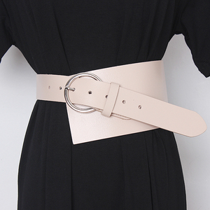 Image 4 - [EAM]  Pu Leather Asymmetrical Split Wide Long Belt Personality Women New Fashion Tide All match Spring Autumn 2020 19A a489