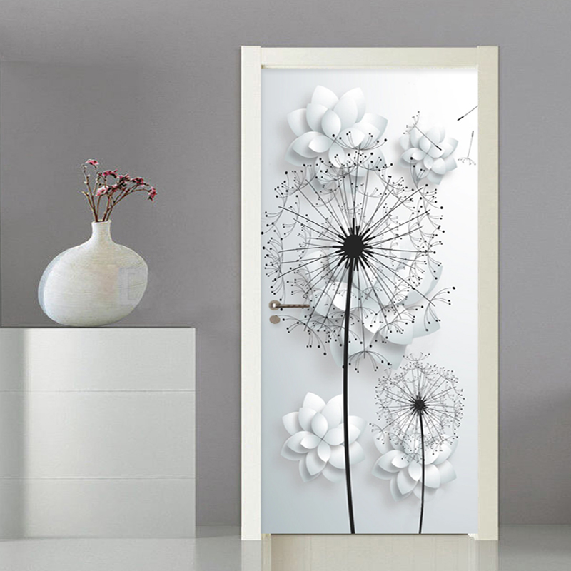 Modern 3D Stereo Dandelion Vinyl Door Mural Living Room Bedroom Home Decor Wall Sticker PVC Self-Adhesive Waterproof Door Poster