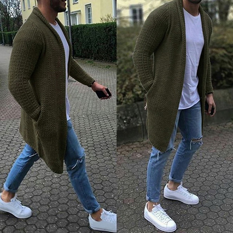 2019 New Men Casual Solid Cardigans Streetwear Autumn Thin Long Sleeve Knitted Sweaters Fashion Men's Slim Fit Sweater Overcoat