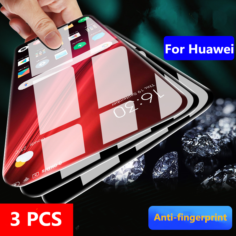 3pcs 9H Tempered Glass For Huawei Honor 10 9 Lite 8x 20i 10i Screen Protector Glass For Honor 9X V10 8A 7A 7C Pro Film