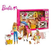 Mattel Barbie Doll Hugs N Horses Playset Blond fashion doll children model toys