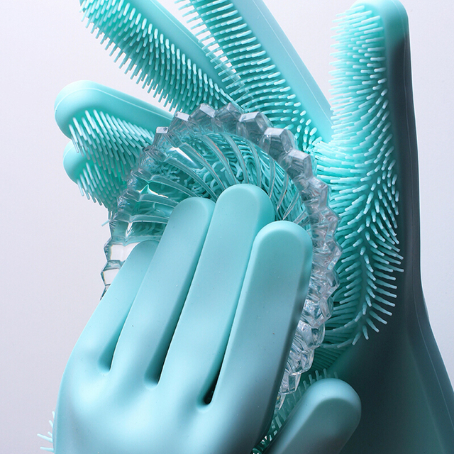 Silicone Dishes Washing Glove with Cleaning Brush