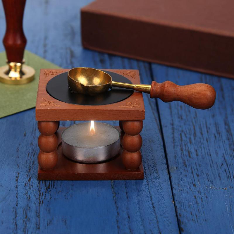 Retro Sealing Wax Furnace Stove Pot Wood Handle Sealing Wax Spoon for Wax Sealing Decorative Wax Stamp Craft Gift