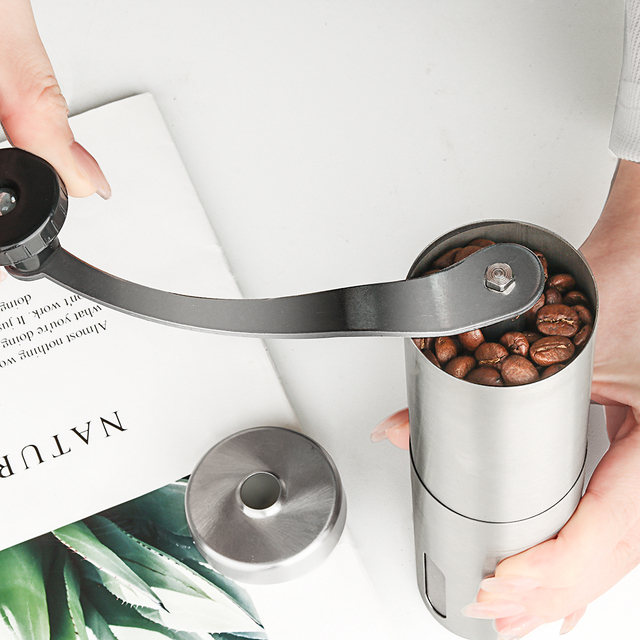 Silver Hand Held Conical Burr Coffee Grinder 5