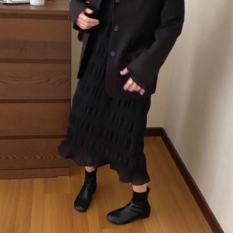 Haed42118b34a46fba282df07be16b53ex - Autumn Korean O-Neck Flare Long Sleeves Chiffon Pleated Midi Dress