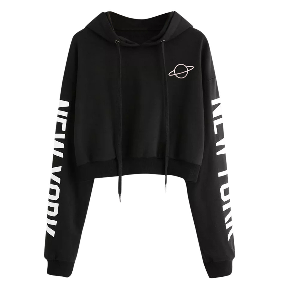 Planet Print Crop Hoodies Women Black Sexy Casual Letter Print Hoodie Sweatshirt 2019 Autumn Full Sleeve Brief Basic Hoddies #B