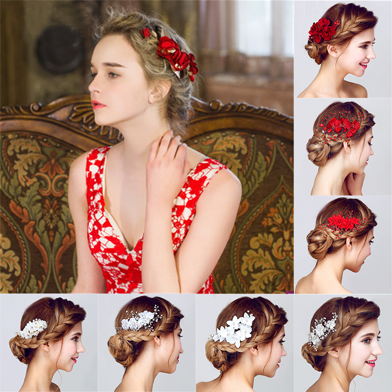 Hot Red And White Flowers Bridal Hairpin Women Jewelry Accessories Statement Handmade Bride Headwear Flower Head Combs Headdress