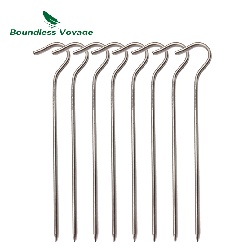 Boundless Voyage 8-12pcs Titanium Alloy Tent Pegs Camping Hiking Climbing Ultralight Tent Nail Stakes